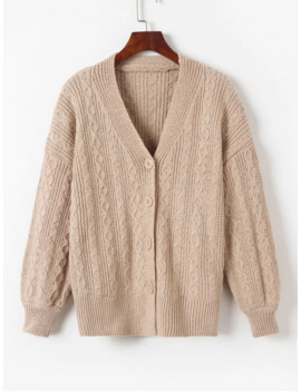 Salev Neck Button Up Cable Knit Cardigan   Light Khaki by Zaful