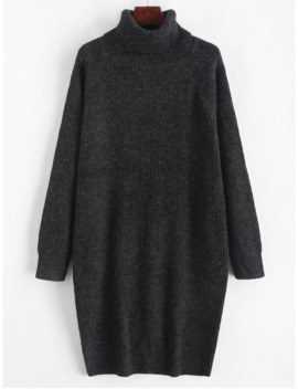 Hot Sale Turtleneck Chunky Knit Longline Sweater   Graphite Black S by Zaful