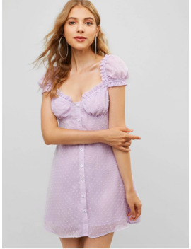 Hot Salezaful Button Up Ruffles Swiss Dot Mini Dress   Mauve M by Zaful