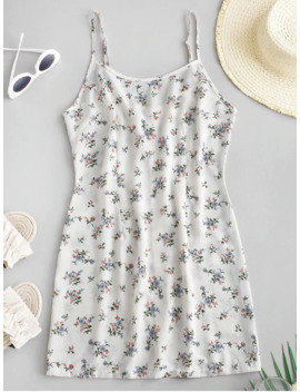 Sale Back Zipper Floral Cami Mini Dress   White M by Zaful
