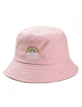 Rainbow Embroidery Corduroy Fisherman Hat   Pink by Zaful