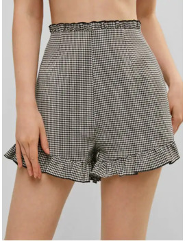 Zaful Plaid Ruffle Pocket Shorts   Black S by Zaful