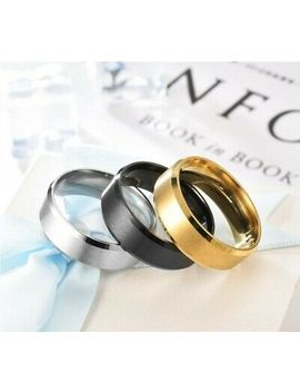 8 Mm Stainless Steel Men Women Wedding Engagement Black Gold Ring Band Size 6 13 by Ebay Seller