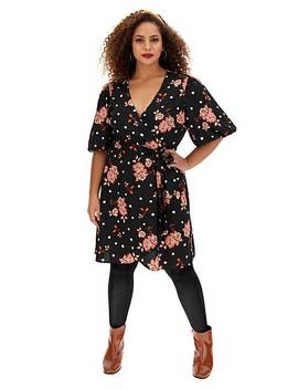 Floral Spot Puff Sleeve Skater Dress by Simply Be