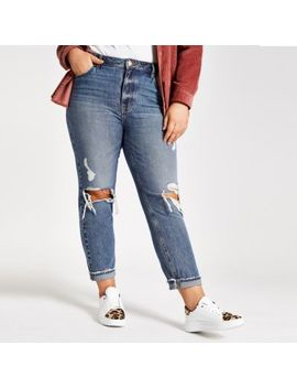 Plus Mid Blue Ripped Mon Jeans by River Island