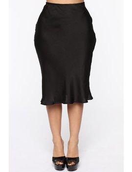 Runway All Day Satin Midi Skirt   Black by Fashion Nova