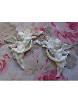 Shabby And Chic Cherubs W Rose Garland Pair Furniture Appliques Architectural Pediment by Etsy