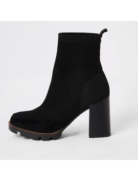 Black Fly Knit Chunky Sock Boots by River Island