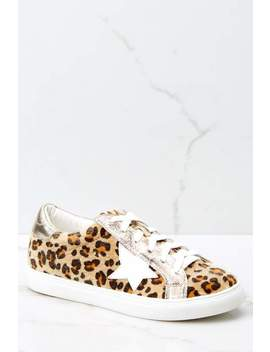 Getting Better Gold Leopard Print Sneakers by Nature Breeze