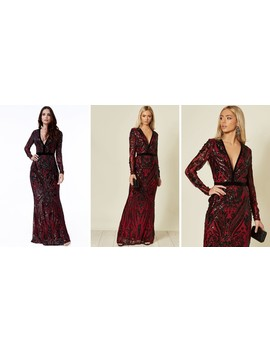 Embroidered Sequin Maxi Dress In Wine Red by Goddiva