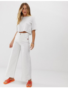 Love Moschino White Wide Leg Jeans by Love Moschino