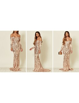 Rain Off Shoulder Sequin Maxi Dress In Rose Gold by Nazz Collection