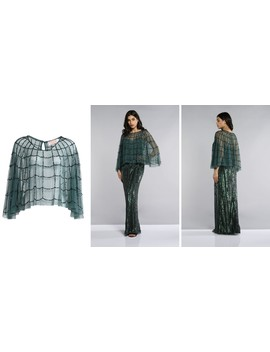 Edna Hand Embellished Cape In Green by Gatsbylady London