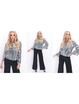 Sequin Flared Sleeves Oversized Top Silver by Lily Lulu Fashion