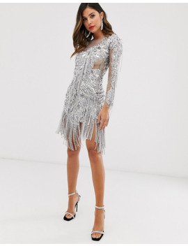 A Star Is Born Embellished Midi Dress With Asymmetric Hem In Silver by A Star Is Born