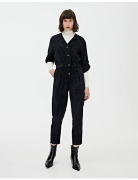 Grey Corduroy Jumpsuit by Pull & Bear