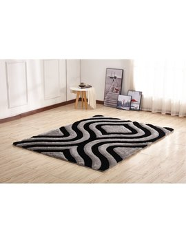Kleiber Shaggy 3 D Rectangle Gray/Black Area Rug by Orren Ellis