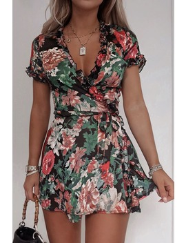 Fashion Influx Black Floral Wrap Frill Trim Mini Dress by In The Style