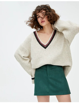 Yoke Front Faux Suede Mini Skirt by Pull & Bear