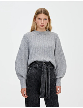 Ribbed Sweater With Puff Sleeves by Pull & Bear