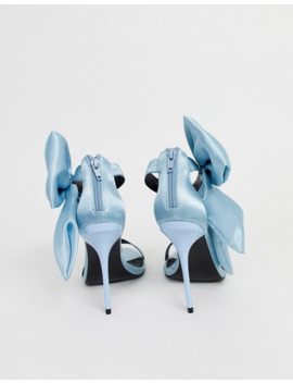 Asos Design Wide Fit Wellness Bow Heeled Sandals In Blue by Asos Design