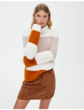 Fuzzy High Neck Sweater by Pull & Bear