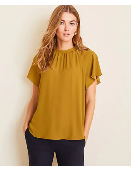 Smocked Mock Neck Tee by Ann Taylor