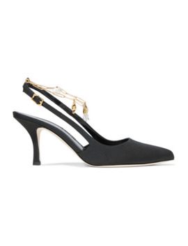 The Initial Spark Embellished Faille Slingback Pumps by Alighieri