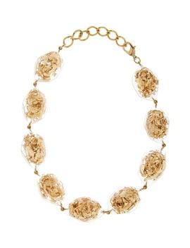 L Golden Flake & Resin Collar Necklace by Oscar De La Renta
