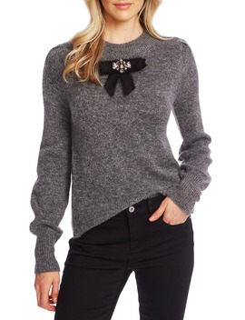 Jeweled Bow Detail Sweater by Cece