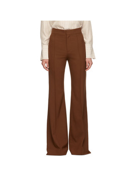 Brown Stretch Wool Flared Trousers by ChloÉ