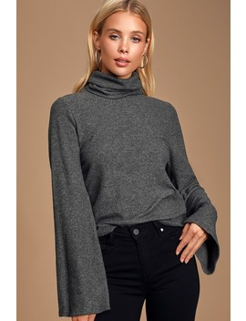 Alvina Charcoal Grey Ribbed Turtleneck Sweater Top by Lulus