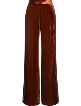Silk Satin Trimmed Velvet Wide Leg Pants by Etro