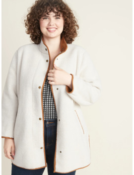 Plus Size Snap Front Long Sherpa Coat by Old Navy