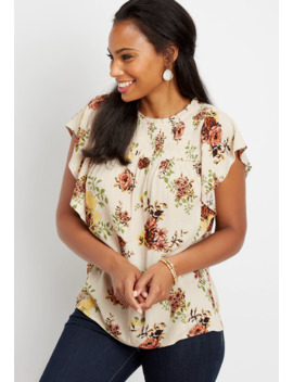 Metallic Floral Smocked Top by Maurices