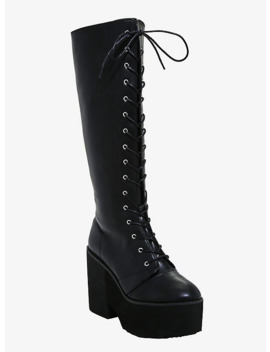 On Guard Knee Platform Boots by Hot Topic