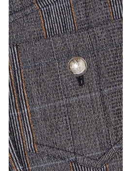 Prince Of Wales Checked Stretch Wool Blend Slim Leg Pants by Chloé