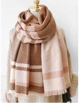 Plaid Design Tassel Long Scarf   Camel Brown by Zaful