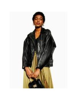Topshop Oversized Soft Leather Classic Biker Jacket by Topshop
