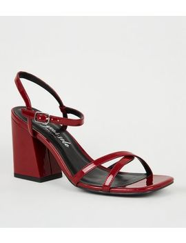 Red Patent 2 Part Flared Block Heels by New Look