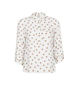 Petite Camel Spot Print Roll Sleeve Shirt by Dorothy Perkins