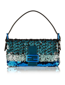Baguette Sequin Embellished Silk Shoulder Bag by Fendi
