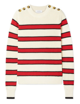 Striped Ribbed Knit Cotton Sweater by La Ligne