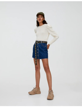 Denim Mini Skirt With Visible Buttons by Pull & Bear