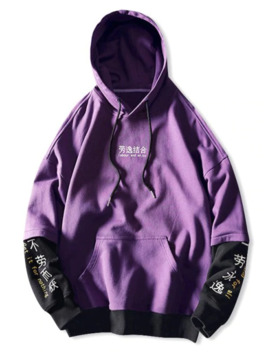 Letter Graphic Print Color Blocking Spliced Faux Twinset Hoodie   Purple M by Zaful