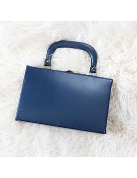 Vintage Box Purse, Blue Vinyl Hard Structured Handbag by Etsy