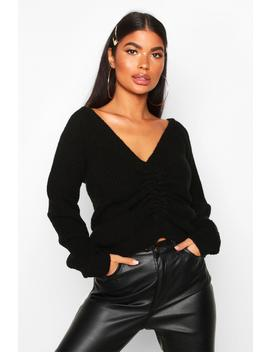 Petite Knitted Ruched Front Jumper by Boohoo
