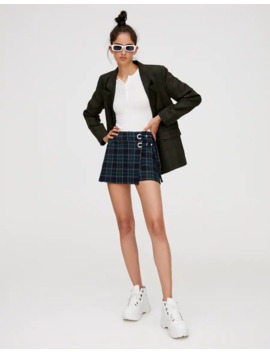 Checked Skort With Rings by Pull & Bear