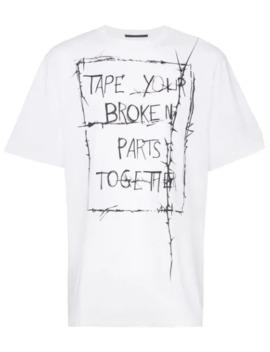 Slogan Print Short Sleeved Cotton T Shirt by Haider Ackermann