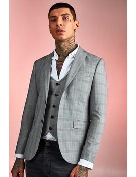 Smart Check Skinny Fit Suit Jacket by Boohoo